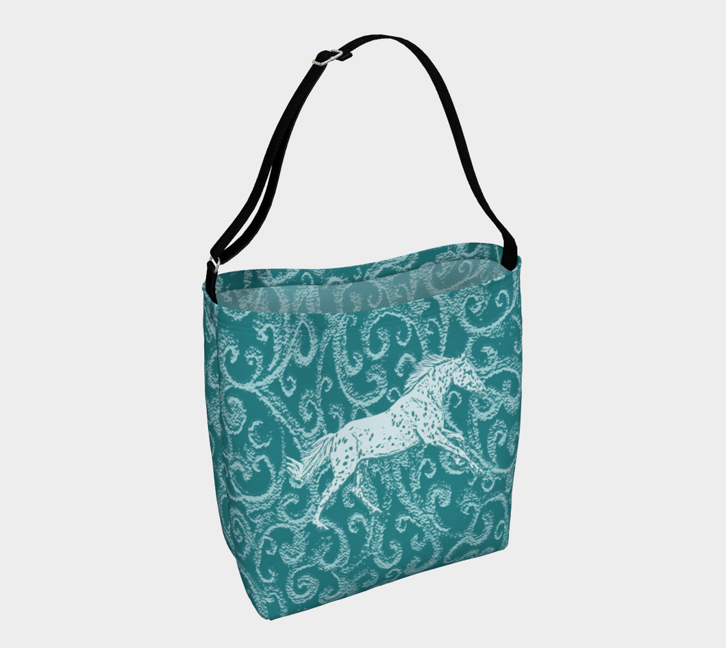 Leopard Appaloosa Turquoise Flyer Day Tote Bag