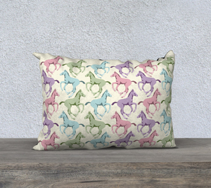Pretty Prancing Pony Foals 20x14 Rectangle Decor Pillow Cover