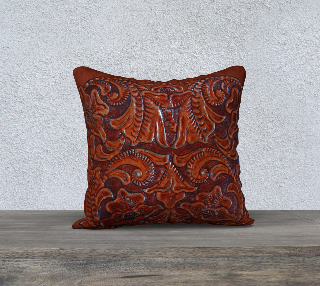 Antique Tooled Leather Design in Cognac Saddle Brown Pillow Case