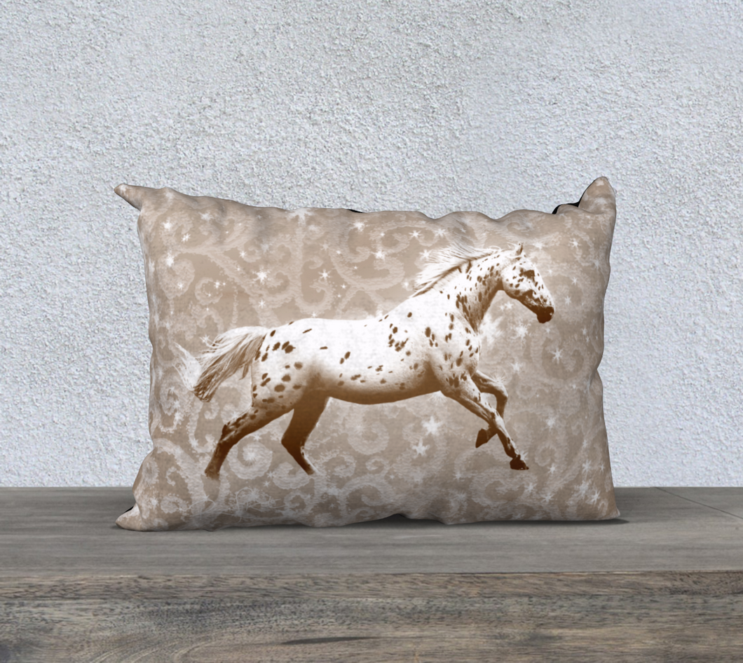 Leopard Appaloosa Horse Greige Fantasy Decor Pillow Cover 20x14