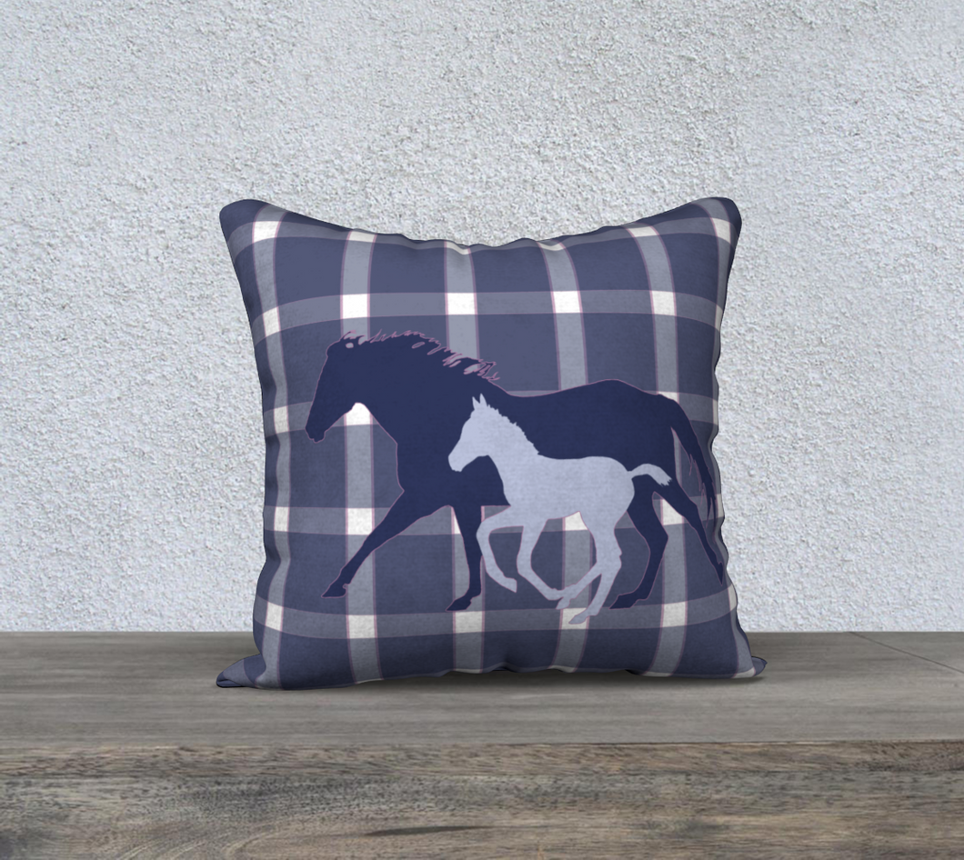 Galloping Mare and Foal with Navy and Pink 2 Plaid Decor Pillow Cover