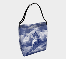 Load image into Gallery viewer, Storm Warning Navy Blue Horse Art Day Tote Bag lowered logo inside