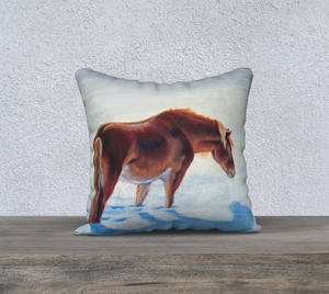 Snow Bound Chestnut Pony Decor Pillow Cover 18x18, Horse Decor, Pony Decor, Chestnut Pony, Winter, Gifts for Horse Lovers, Pony Lovers, Equestrian Decor, Cowgirl