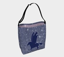 Load image into Gallery viewer, Pegasus Magical Horse Blue and Mauve Day Tote Bag