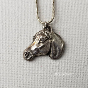 "Hand Sculpted Fine Silver Horse Head Pendant Jewelry ~ ""Spirit"" Arabian"