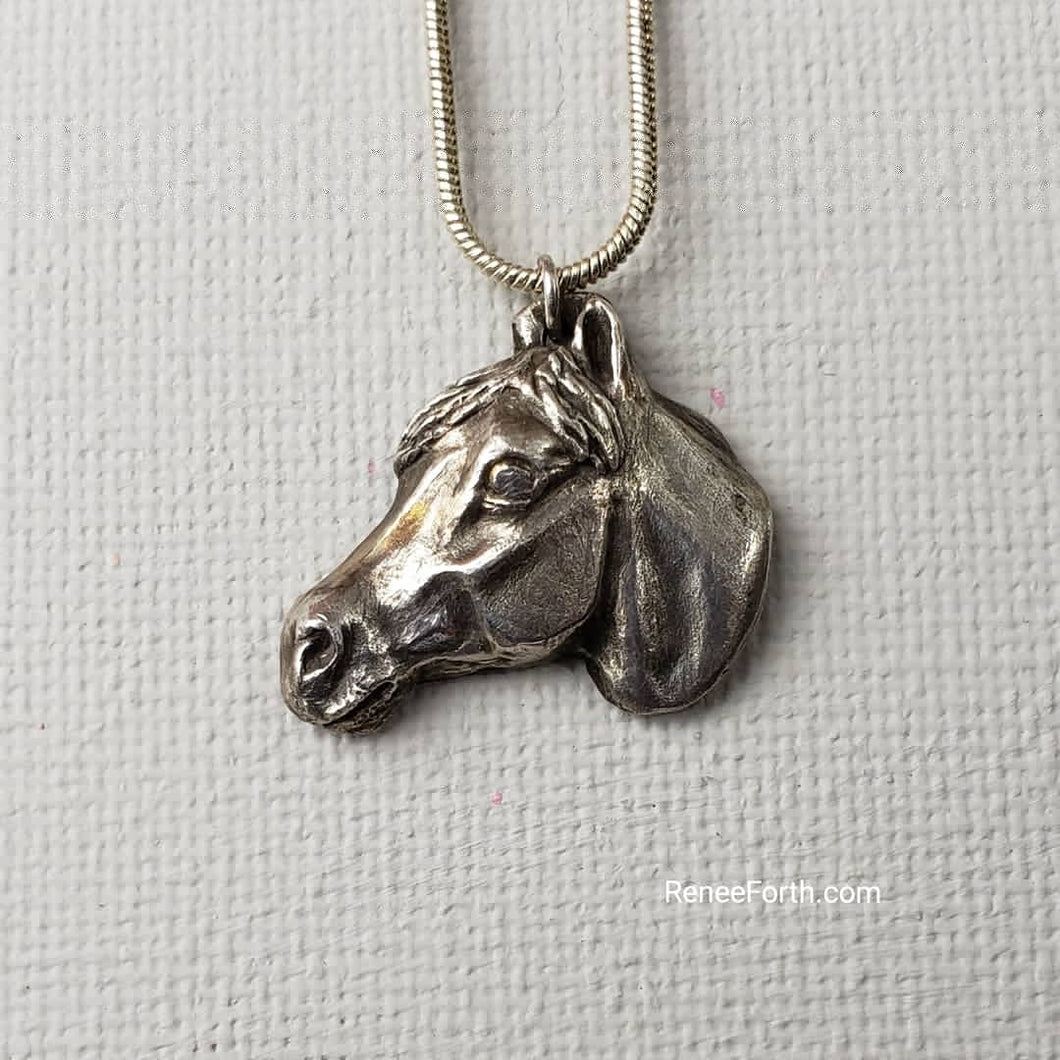 Hand Sculpted Fine Silver Horse Head Pendant Jewelry ~