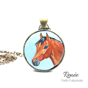 Bay Horse Portrait Tiny Hand Painted Pendant Jewelry