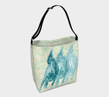 Load image into Gallery viewer, Wild Horses Turquoise on Pale Yellow Day Tote Bag