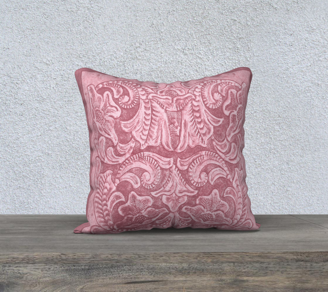 Soft Pink Tooled Leather Pattern Decor Pillow Cover