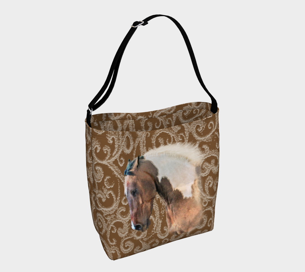Paint Horse on Neutral Swirls Day Tote Bag
