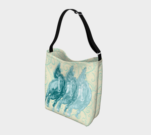 Wild Horses Turquoise on Pale Yellow Day Tote Bag