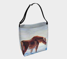 Load image into Gallery viewer, Snow Bound Chestnut Pony in Snow, pony Tote Bag, Equestrian tote bag, Elegant Equestrian, Cowgirl, Horse Lovers, Accessories, Bags, Carryall