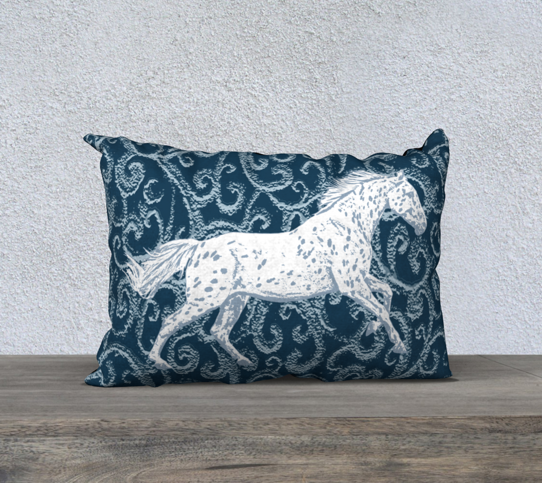 Leopard Appaloosa Horse Dark Blue Fantasy Decor Pillow Cover 20x14