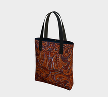 Load image into Gallery viewer, Antique Tooled Leather PRINT Tote Bag, Saddle Brown, Poly Canvas