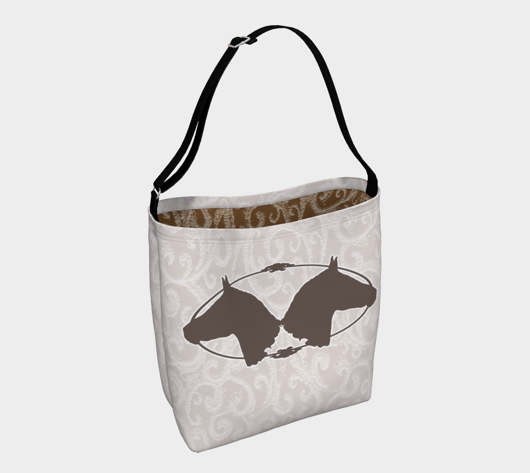 Two Horse Heads Design Neutral Beige Day Tote Bag