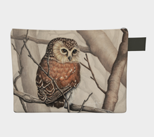 Load image into Gallery viewer, Sawhet Owl Watercolour, Zipper Carry All, Zipper Case