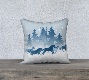 "Galloping Horse Herd Winter Blue, 18""x18"" square decor pillow cover"