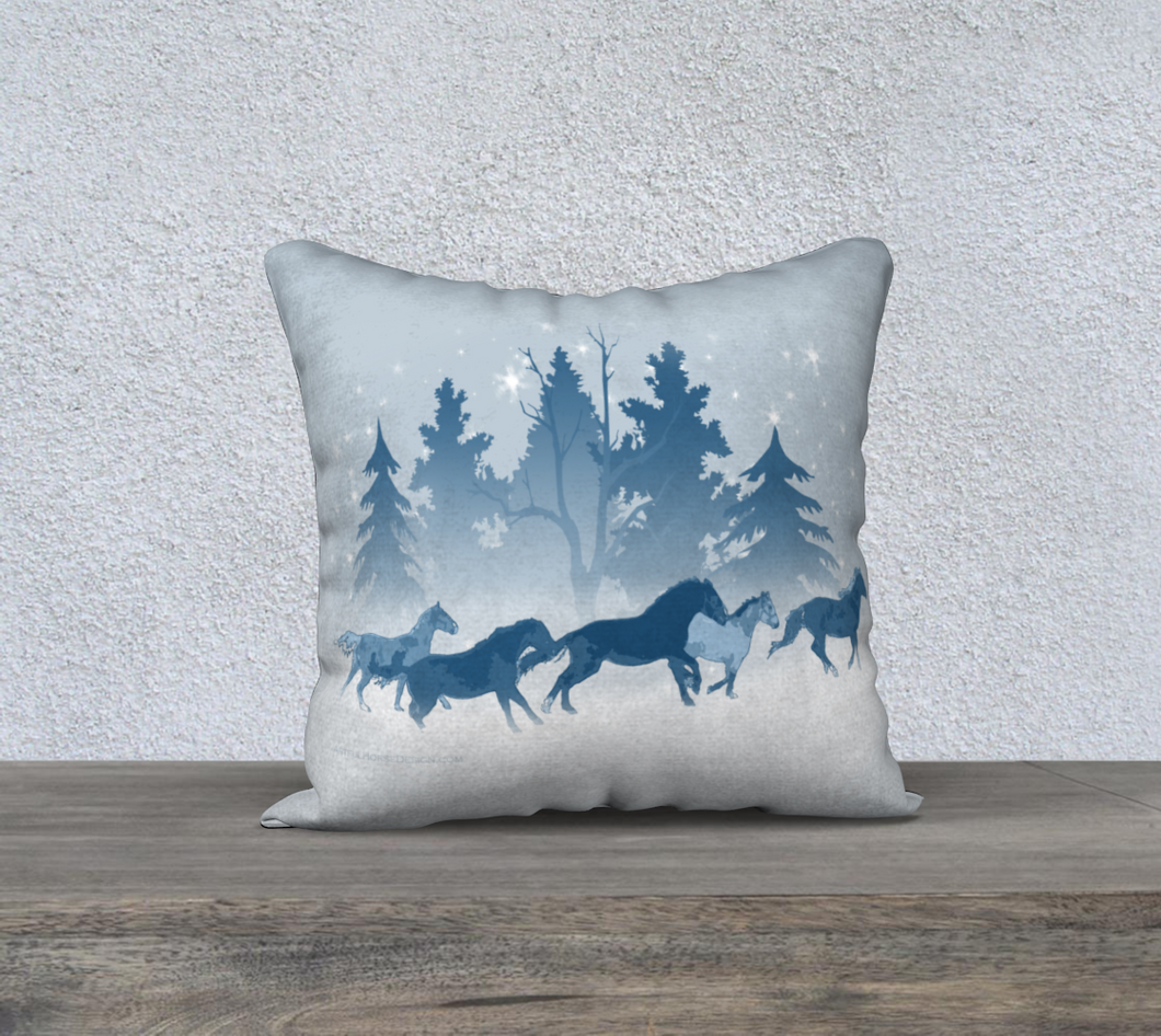 Galloping Horse Herd Winter Blue, 18