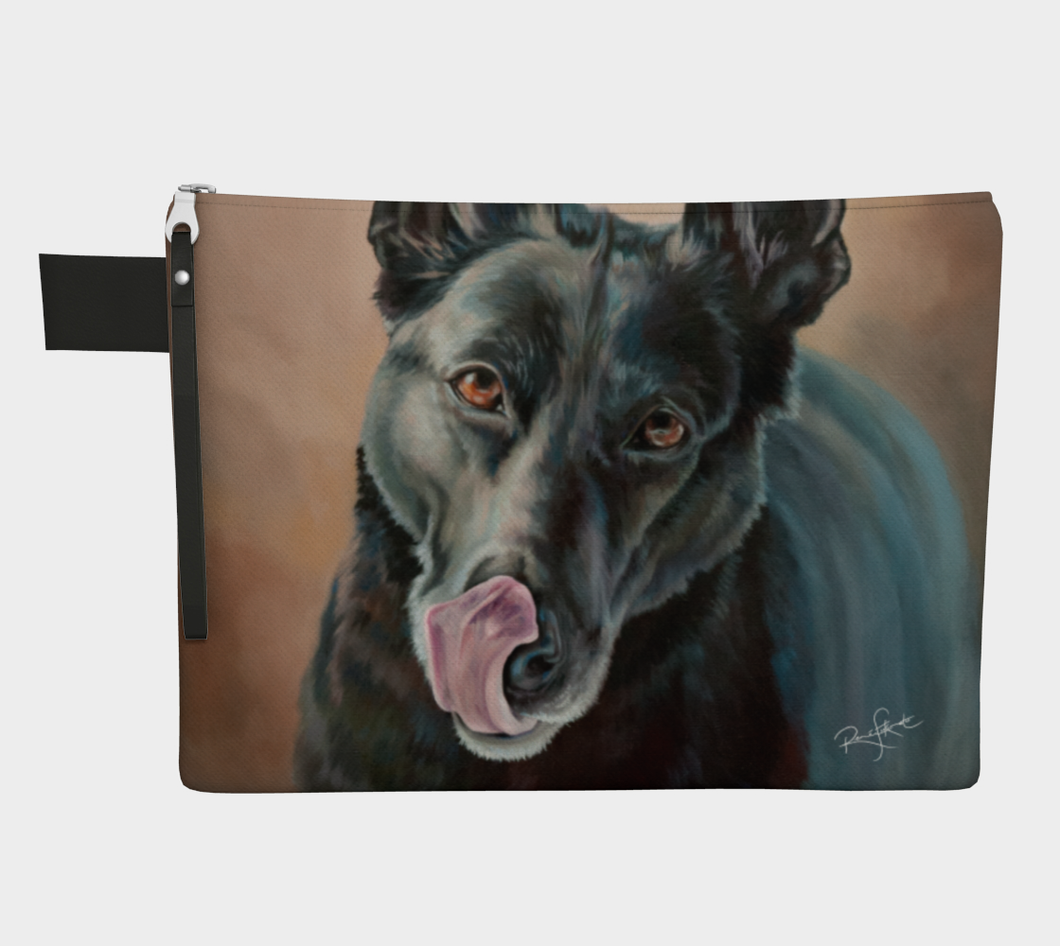 Black German Shepherd Dog Zipper Carry All, Zipper Case