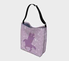 Load image into Gallery viewer, Pegasus Magical Horse Mauve/Navy Day Tote Bag
