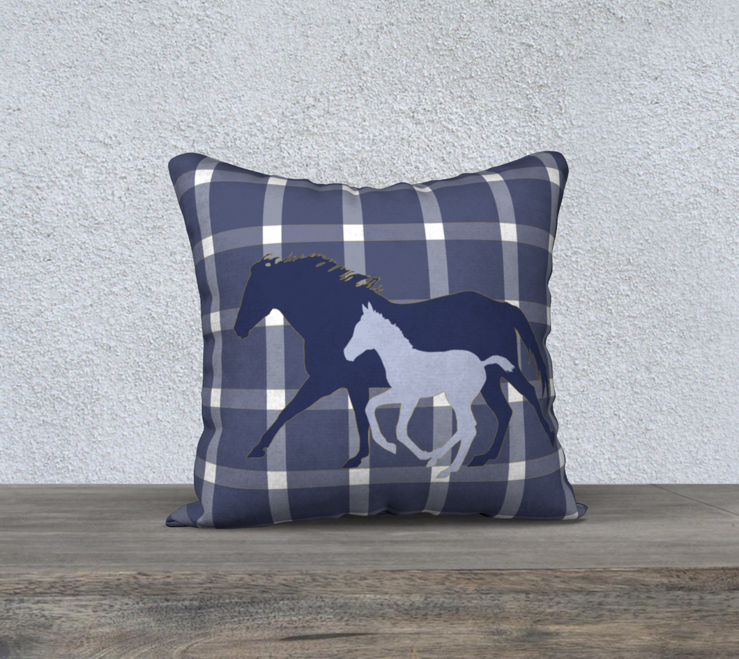 Galloping Mare and Foal with Navy and Yellow Plaid Decor Pillow Cover