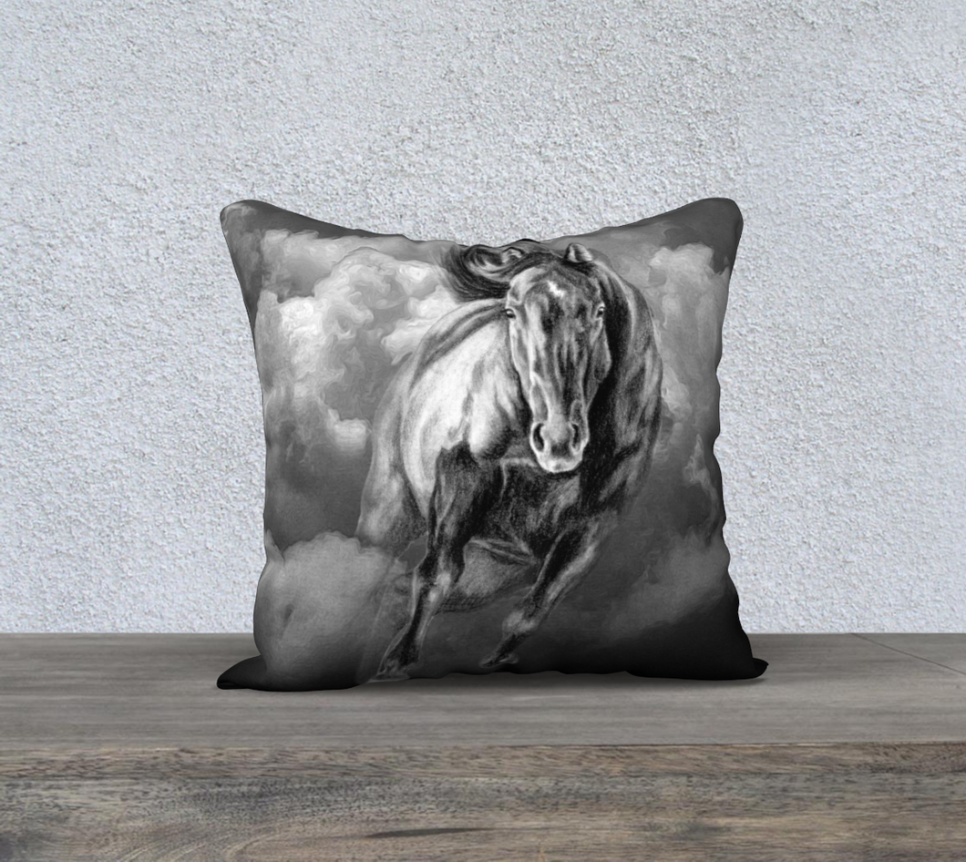Storm Warning Galloping Horse Decor Pillow Cover