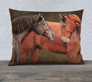 Two Horses Paddock Friends Pillow Cover