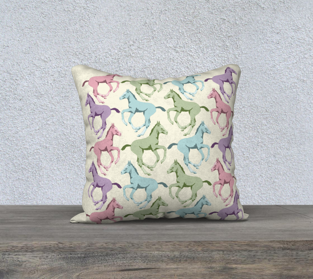 Pretty Prancing Pony Foals Decor Pillow Cover
