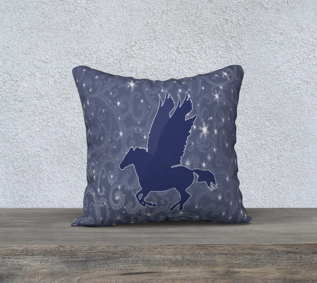 Pegasus Navy Blue on Swirling Starry Background Decor Pillow Cover