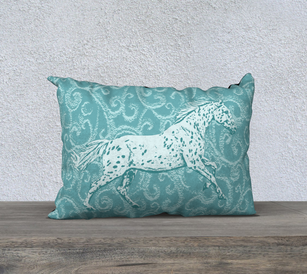Leopard Appaloosa Horse Turquoise Fancy 20x14 Decor Pillow Cover