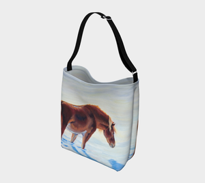 Snow Bound Chestnut Pony in Snow, pony Tote Bag, Equestrian tote bag, Elegant Equestrian, Cowgirl, Horse Lovers, Accessories, Bags, Carryall