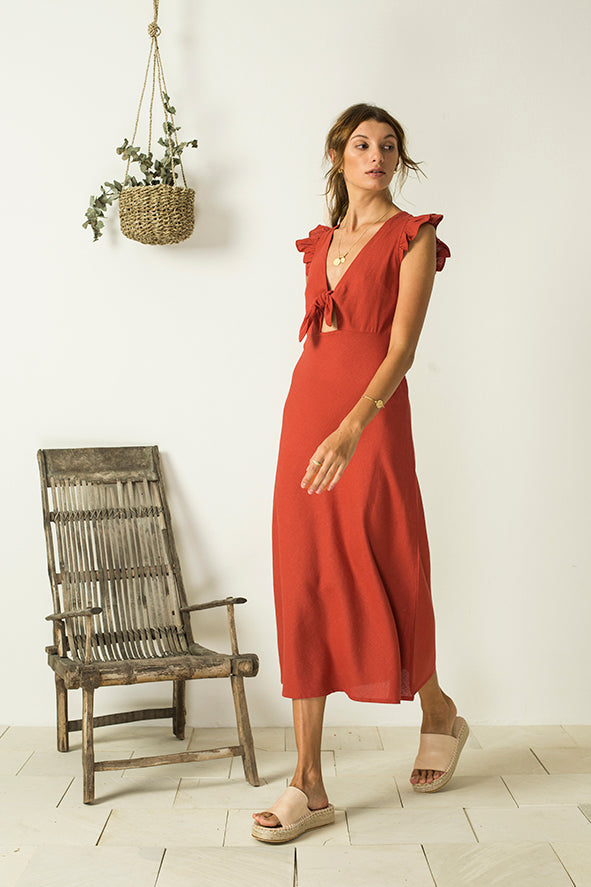 Alba Tie Dress - Pomegranite