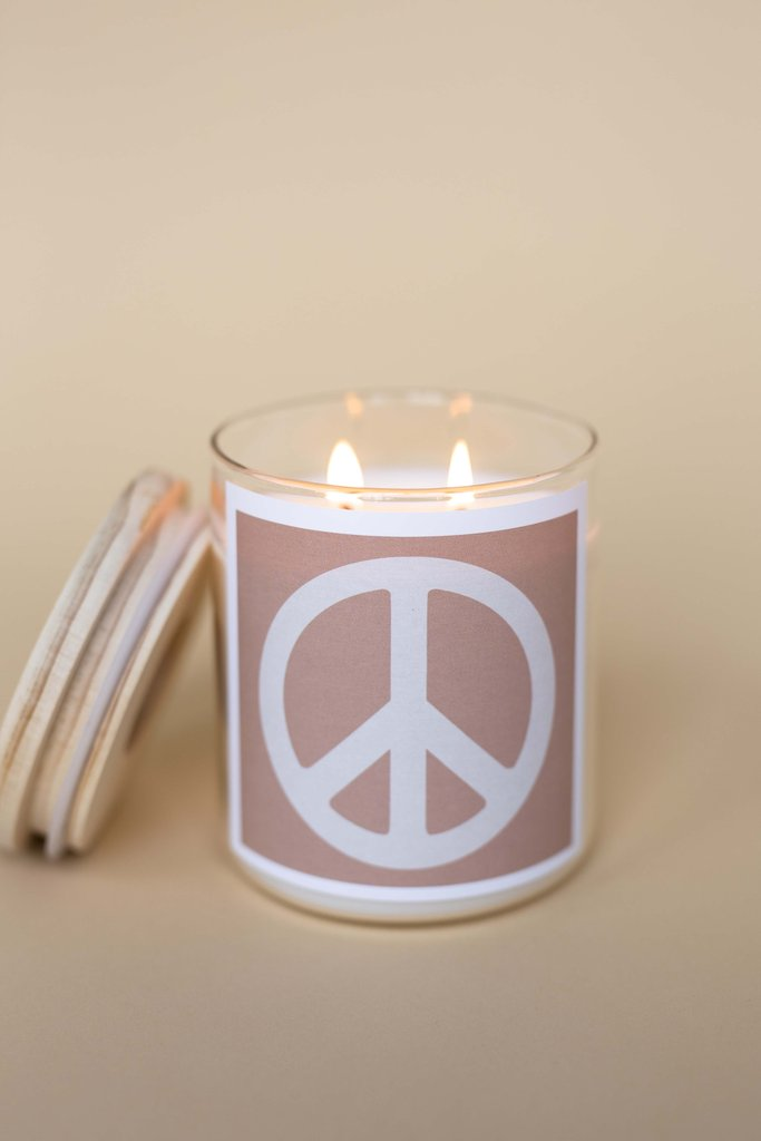 Peace Sign Pink Candle