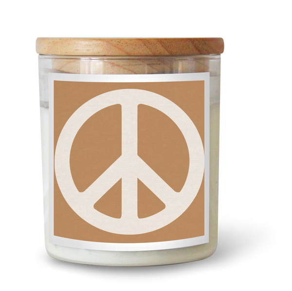 Peace Sign Tan Candle