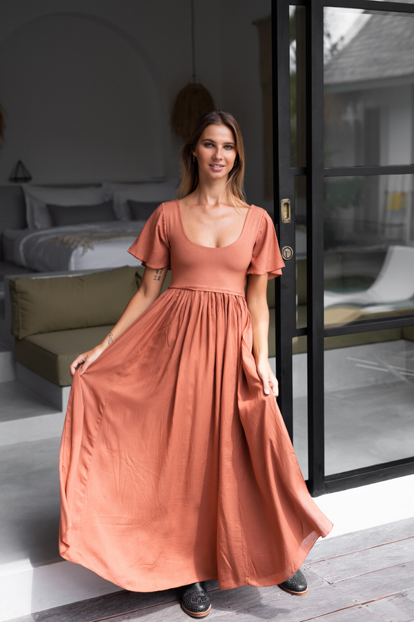 Goddess Maxi Dress - Ochre