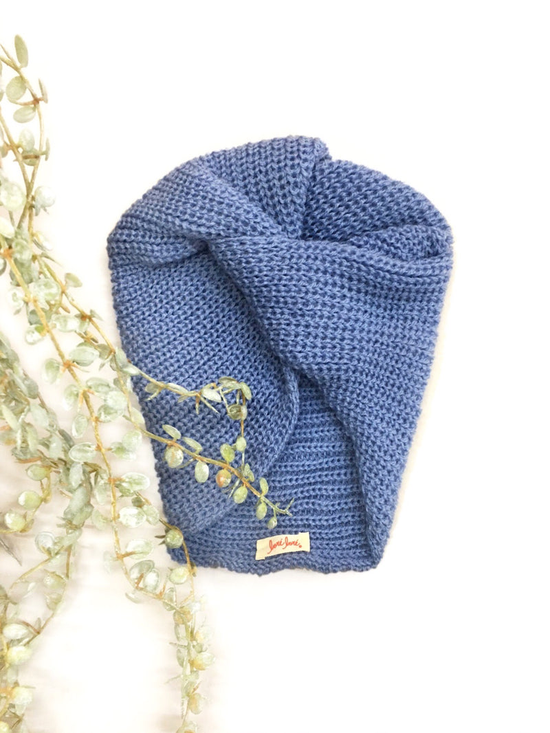 English Rib Wool Turban - Cornflower