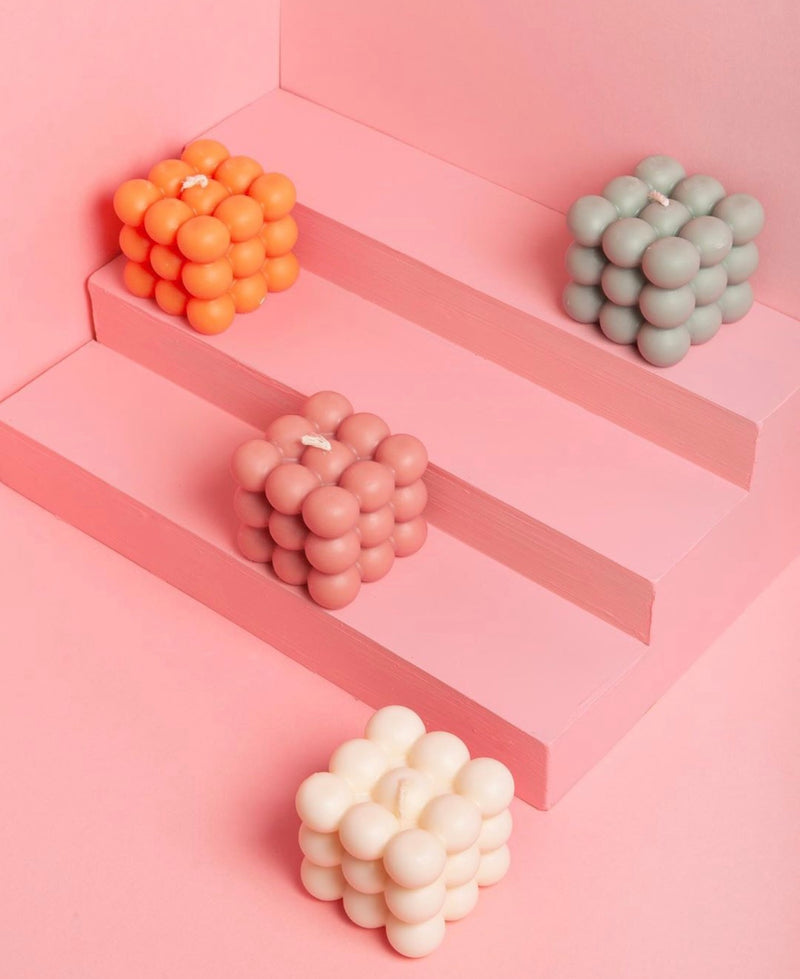 Bubble Cube Candle - Pink