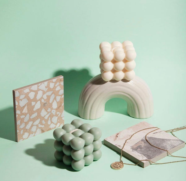 Bubble Cube Candle - Sage