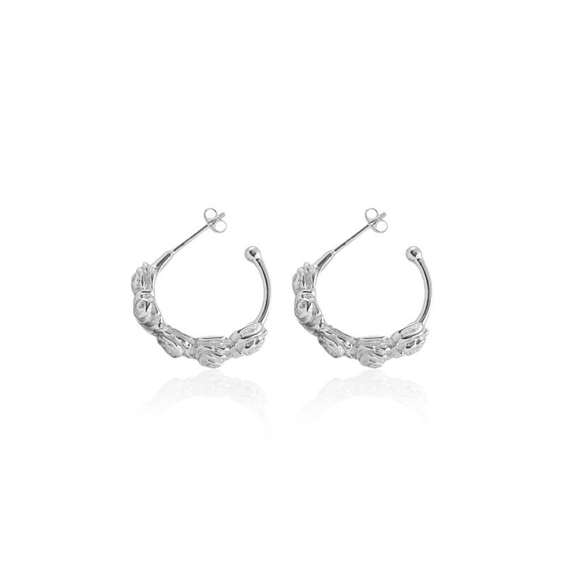 Flores Hoops - Silver