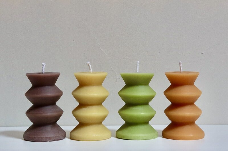 Wave Pillar Candle - Tangerine