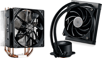 Picture of Cooler Master air and liquid coolers.