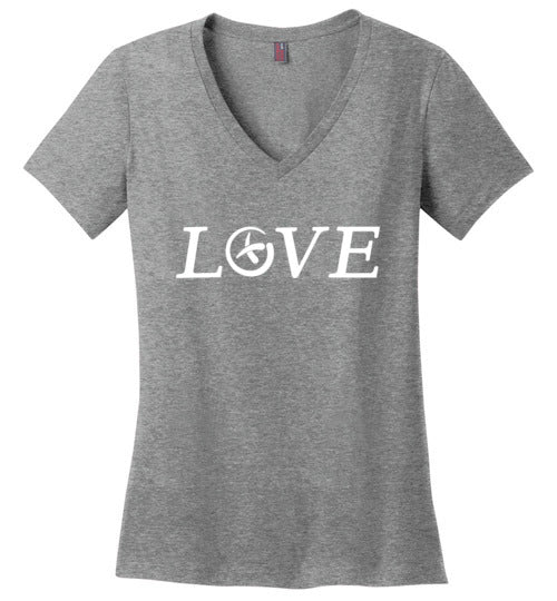 GeoLoveWhiteLadies-V-Neck All Sizes