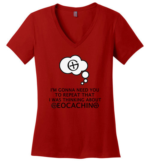 GeoThinking Black - Ladies V-Neck All Sizes