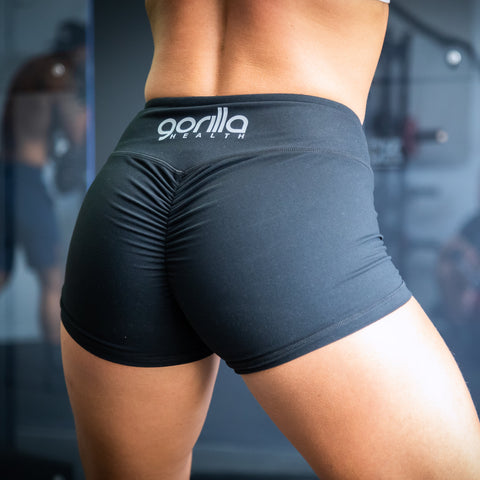 Gorilla Health Scrunch Booty Shorts - Jet Black - Gorilla Health