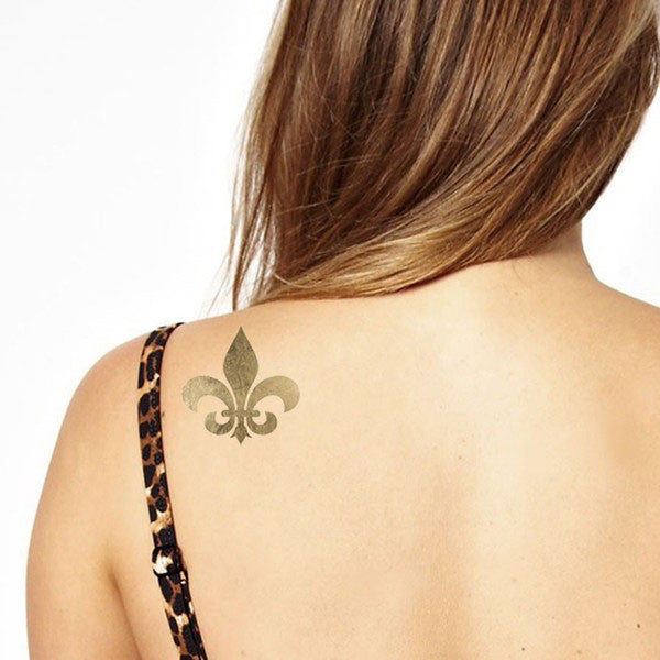 Gold Metallic Fleur De Lis Symbol on shoulder