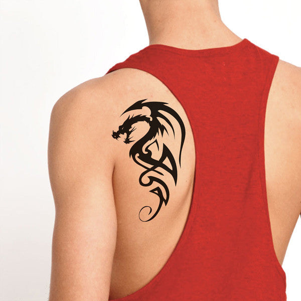 Large Black Tribal Dragon on shoulder