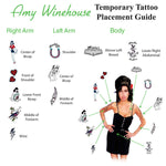 Amy Wine tattoos placement guide