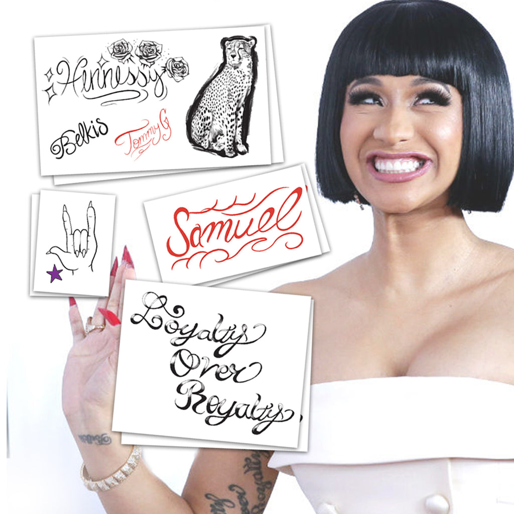 Cardi B Temporary Tattoos Set of Two