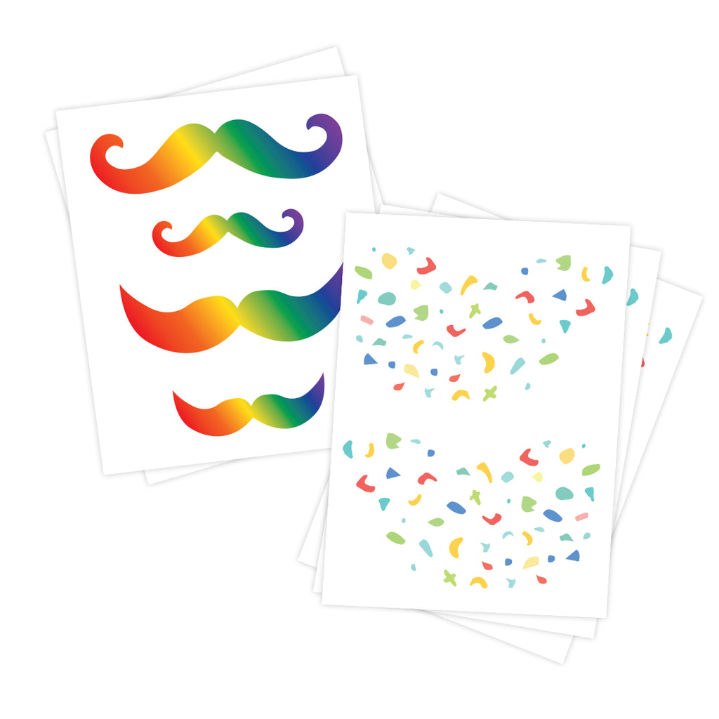 Pride Mustache and Freckles Temporary Tattoos
