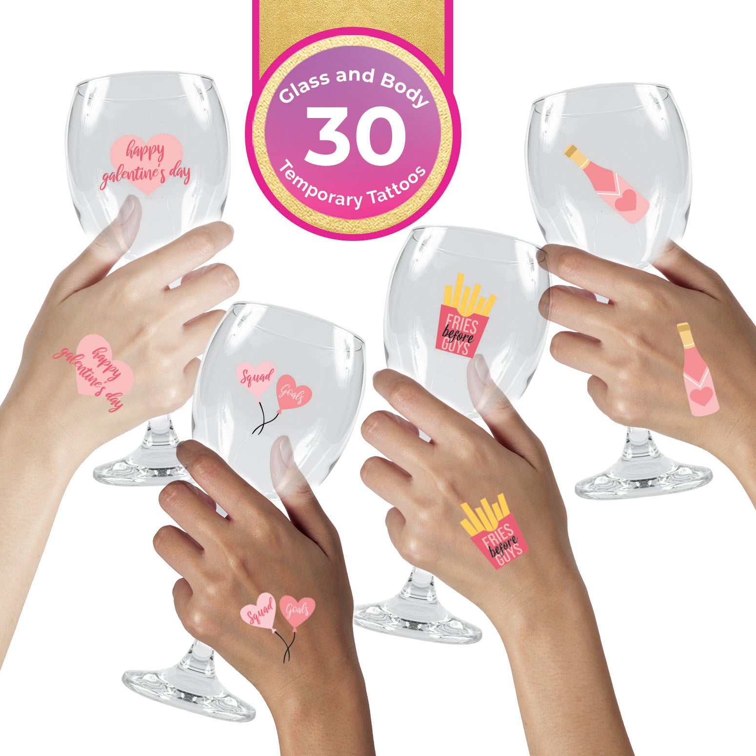 Galentine's Day Wine Charms Pack (30-Pack)